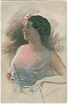 German Artsist Signed Postcard Knoefel Art Deco Galmour Lady