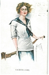 Artsist Signed Postcard Court Barber Yachting Girl