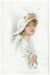 Artsist Signed Postcard Usabal Victorian Lady Feather Hat
