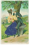Embossed Antique Postcard Romance In The Park