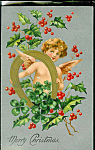 Antique Christmas Postcard Angel Victorian Cherub