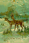 Antique Christmas Postcard Deer In A Field