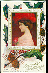 Antique Postcard Lady Red Hat 1909 Christmas