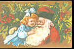Antique Postcard Christmas Santa Claus Victorian Girl