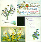 Antique Postcards Lot Easter Flowers Cross