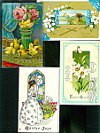 Antique Easter Postcards Lot Victorian Roses Lady Chicks