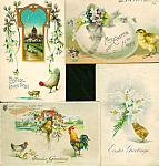 Antique Postcard Lot Easter Rooster Hen Chicks Egg