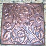 Large Solid Copper Insert Tile Embossed Decorative Accent