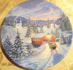 Winter Christmas Eve Decorative Plate Horse Drawn Sleigh