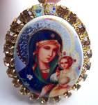 Icon Locket Madonna Jesus Mother Mary Rhinestone Pendant