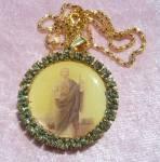 St. Jude Special Request Locket Saint Rhinestone Pendant Necklace