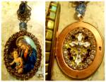 Rhinestone Shrine Locket Icon Pendant Madonna And Child Jesus