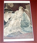 Victorian Lady & Guardian Angel Ab Wenzell Religious Print
