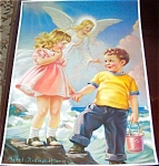 Vintage Mabel Rollins Harris Print: Guardian Angel And Children