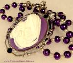 Blessed Mother Virgin Mary Child Jesus Purple Cameo Bead Necklace
