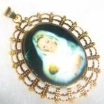 Large Madonna And Child Gold Porcelain Pendant Virgin Mary Jesus