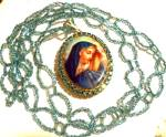 Vintage Beads Madonna Locket Rhinestone Necklace Virgin Mary