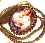 Madonna Jesus St John Locket Necklace Porcelain Saint Pendant