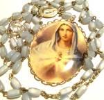 Vintage Glass Rosary Bead Necklace Sacred Heart Virgin Mary