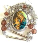 Religious Locket Necklace Earrings Pendant Mary Baby Jesus
