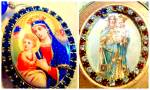 Porcelain Cameo Madonna & Child Vintage Shrine Icon Jewelry