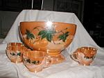 Orange And Black Punch Bowl Set