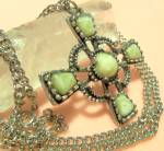 Vintage Maltese Cross Necklace Big Agate Pendant