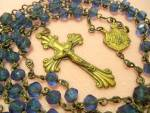 Antique Blue Rosary Beads Brass Rosaries