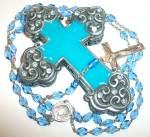 Blue Enamel Rosary Box Case Glass Rosaries Rhinestone Italy