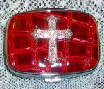 Rhinestone Cross Pill Box Red & Silver