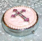 Pink Enamel & Rhinestone Cross Pill Box