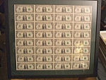 Uncut Currency Sheet Of 32 2003 $1 Bills Rare Item
