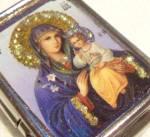 Madonna & Child Jesus Christ Virgin Mary Pill Rosary Box