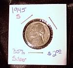 Jefferson Nickel Wartime 1945 S 35% Silver.