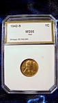 Lincoln Penny 1942-s Red Ms66 Certified Graded.
