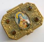 Antique Metal Rosary Box St. Terese Therese Brass Ornate