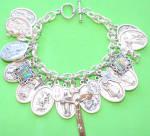 Saint Charm Bracelet Silver St. Philomena Pio Cross Our Lady