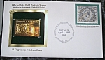 Gold Postage Stamp 24 Kt $6 King George V Red And Black. 1st Day Issue