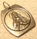 Large Vintage Medal Jesus Christ Sacred Heart Pendant