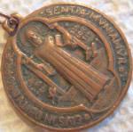 Vintage Copper St. Benedict Medal Saint Pendant
