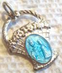 Vintage Madonna & Child Jesus Medal Enamel Pendant
