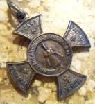 Antique French Infant Of Prague Maltese Cross Medal Jesus