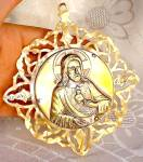 Antique Celluloid Jesus Christ Crib Ornament Mother Of Pearl