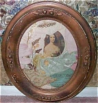 Antique Oval Frame Victorian Art Print Fabric Collage