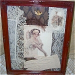 Shabby Victorian Chic Art Antique Fabric Collage Harrison Fisher