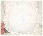 Round Pink Roses & White Decorative Throw Pillow Cottage Chic