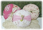 3 Round Decorative Pillows Country Victorian Roses Cottage Chic