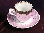 Antique Lavender Gold Shell Floral Germany Cup & Saucer