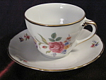 Vintage Bavarian China Rose And Floral Cup And Saucer