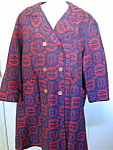 Vintage Womens Red Tapestry Pattern Coat